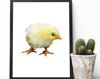 Geometric Chick, Instant Downloadable Printable Art, Printable Wall Art