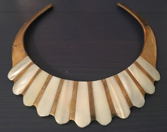 Vintage Brass + Mother of Pearl Choker Necklace
