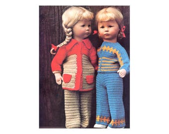 "20"" Doll Clothes Crochet Pattern - Pants, Jacket, Shirt, Poncho, Dress, & Hat"