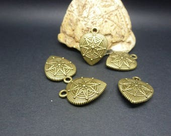 5 heart charms with star 15 * 20mm antique bronze (USBB10)