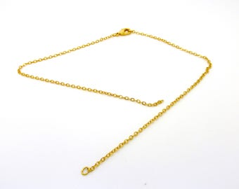 Golden brass, gold plated lobster clasp chain