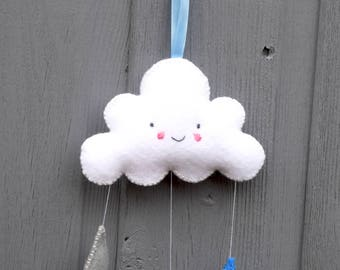 Felt Cloud Mobile, hand sewn with rain drops, perfect gift for a new baby