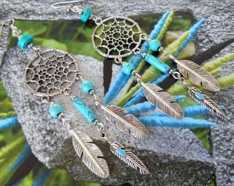 Earrings turquoise Dreamcatcher and feather.
