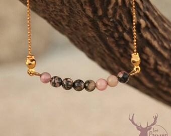 Fine bracelet boho, bohemian, ethnic chic style ▷ Pink rhodonite gemstone ▷ Raw brass (gold) ▷ Gift idea
