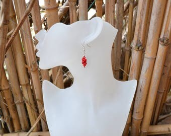 Shape red coral beads and silver plated earrings baroque / Valentine / women gift