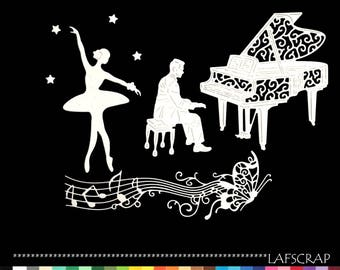cuts ballerina piano pianist flowers scrapbooking embellishment die cut paper cut Butterfly music notes