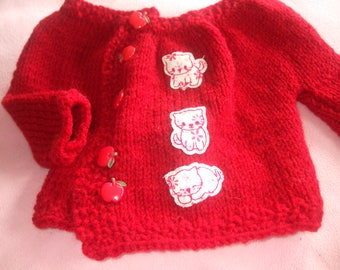 Red premature baby Cardigan knitting hands with little stitched cat and buttons