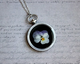 Necklace + genuine watch FOB (4.8 cm), resin and dried pansy flower