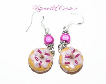 Delicious fimo donuts pink and fuchsia earrings