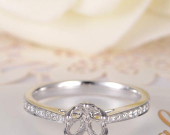White Gold Wedding Ring Flower Engagement Ring Semi Mold Unique Half Eternity Diamond Floral Setting Pave Anniversary Promise Personalized