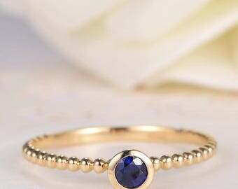 Bezel Set Engagement Ring Gold Sapphire Wedding Bridal Stacking Eternity Birthstone Women Antique Thin Mini Delicate Anniversary Promise