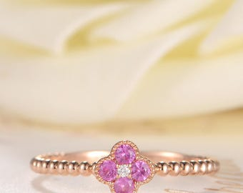 Pink Sapphire Ring Birthstone Engagement Ring Antique Diamond Floral Ring Beaded Eternity Milgrain Clover Cluster Women Thin Anniversary