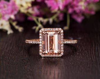 Emerald Cut Morganite Engagement Ring Rose Gold Antique Half Eternity Woman Diamond Halo Art Deco Peachy Promise Bridal Anniversary 2pcs
