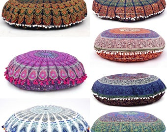 5 Pc Lot Indian Mandala Floor Pillow Handmade Round Ottoman Pouf Daybed Oversized Cotton Cushion Cover Seating Ottoman Poufs Dog / Pets Bed