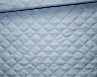 Pique fabric quilted 50 x 150 cm, Argyle, light blue