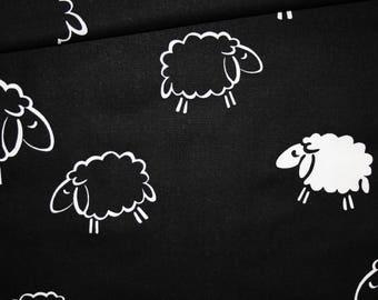 Sheep, 100% cotton fabric printed 50 x 160 cm, black and white sheep pattern