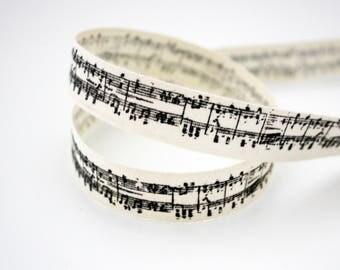 Ribbon music notes, 15 mm, 1 m printed natural cotton Ribbon