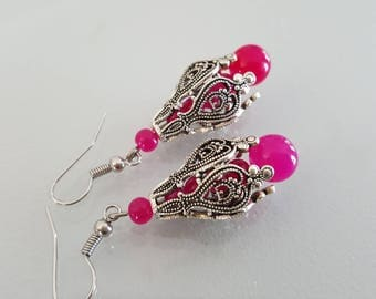 vintage ethnic and agate bead earrings