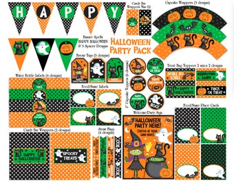 Halloween Party Printable Decorations,Halloween Party Decorations,Halloween Party Package,Halloween Banner,Halloween Download