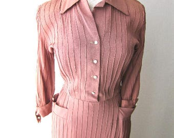 L 40s 50s Rayon Pintuck Day Dress Rust Tan Bronze Button Front Shirtwaist Rhinestone Buttons Ombre Fade by Smartcraft TLC Large