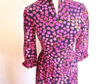 L 60s MOD Long Dress Floral Pink Blue Maxi Cotton Hostess Deadstock NWOT Gown Dress Sleeveless Resort Party Large