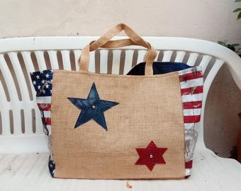 Large burlap beach bag and print usa