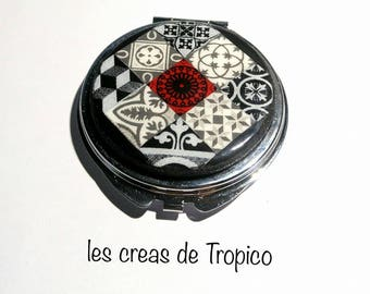 bag/Pocket mirror old tiles Tile earthenware red white black polymer clay