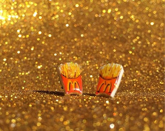 French Fries Stud Earrings - McDonald's Shrink Plastic Jewelry - OddplanetArt