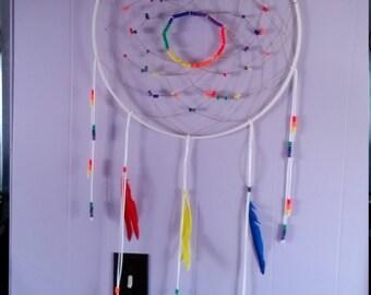 19in White Rainbow Dreamcatcher