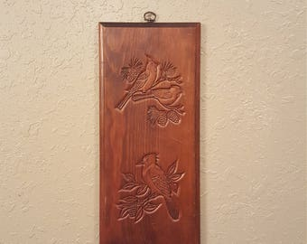 Vintage wooden wall art or plaque with carved birds.  Rectangular vintage wood art.