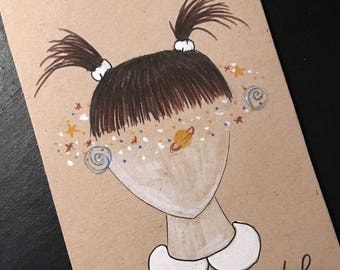 "Postcard ""head in the stars"""