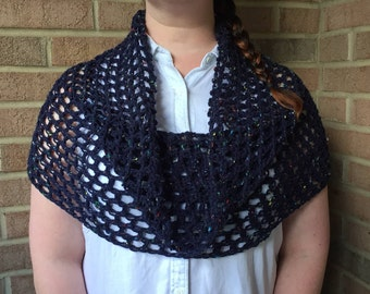 Crochet Capelet Cowl / Scarf, Infinity Scarf, Gift for Her, Gift for Mom, Gifts, Homemade, Blue, British Yarn, Gift for him