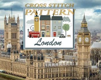 London cross stitch pattern England Travel Art London art Big Ben London Wall Decor United Kingdom Modern xstitch Easy pattern PDF pattern