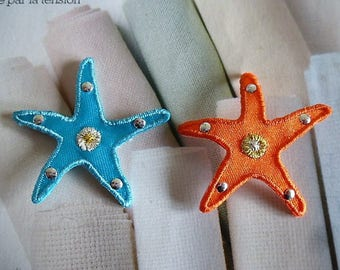 Starfish with golden heart appliques and small studs silver shield iron-on patch