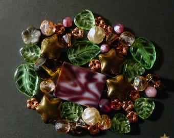 Mixed green, copper color Czech glass beads