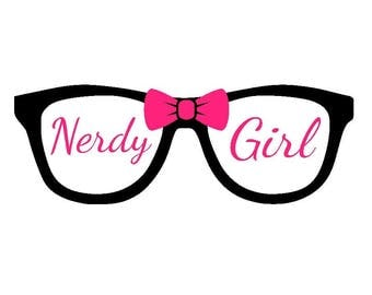Nerdy Girl Glasses with Bow Vinyl Decal