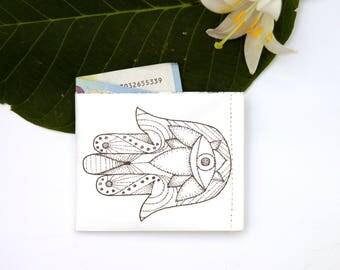 HAMSA Paper Wallet, Tyvek, Handmade, Vegan, Upcycled, Eco-Friendly, Thin, Durable, Illustration