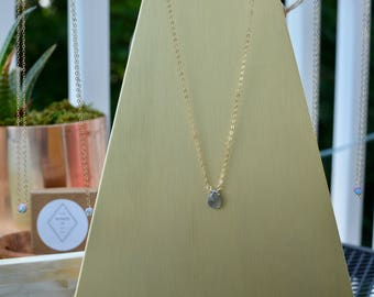 Labradorite Semi-Precious Stone on Delicate 14k Gold Filled, Rose Gold or Sterling Silver Chain