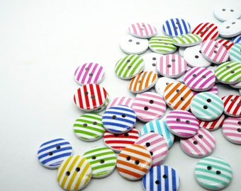 Colourful striped wooden button 15mm mixed packs