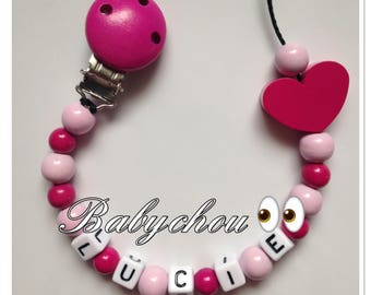 Pacifier in wood with name heart beads