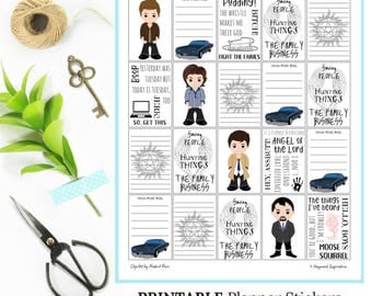 Supernatural Planner Stickers | Printable Planner Stickers | Fandom Stickers | Happy Planner Printable Stickers | Sam and Dean Stickers