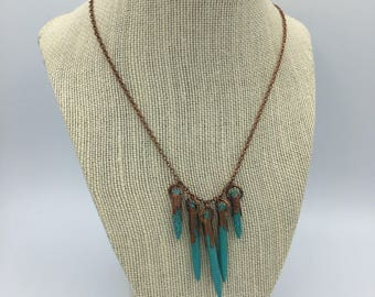 Turquoise Howlite Stick Pin Copper Necklace