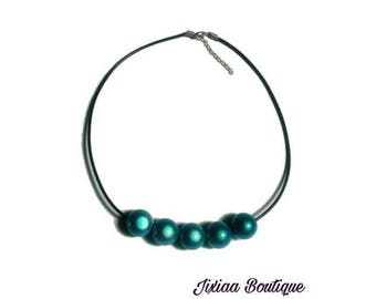 Necklace beads magical turquoise blue