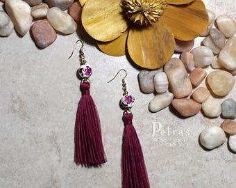 Pantallas Tassel Burgundy | Tassel Earrings