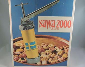 Vintage 1960's SAWA 2000 Deluxe Cookie Press Set Swedish Sweden Original Box