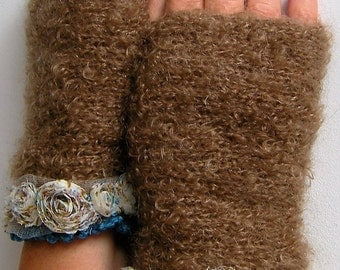 Chestnut and blue mittens with a lovely lace, silk and wool / gift for her