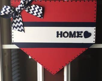 Home Plate door hanger, Home door hanger, Baseball door hanger, Softball door hanger, At the Ball Field door hanger, Sports door hanger