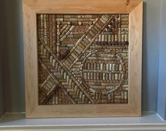 Wine Cork Wall Art With Pine Frame