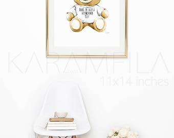 This is not a Moschino Toy Print, Teddy Bear Print, Watercolor Fashion Illustration Print, Moschino Bear Print, Printable Fashion Poster.