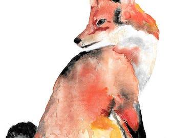 Fox Watercolour Painting Giclee Print A4